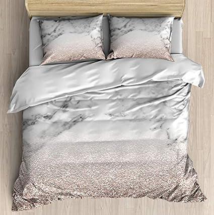 97eec3914bcaf Rose Gold Glitter on Marble Duvet Cover Set Soft Comforter Cover Pillowcase  Bed Set Unique Printed