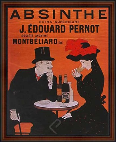 Pernot by Leonetto Cappiello. Framed Vintage French Liquor Bar Reproduction Poster. Custom Made Real Wood Dark Walnut with Black Trim Frame (18 1/4 x 22 1/4) ()