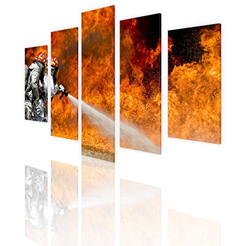 Fire Oil Painting - Alonline Art - Fire Fighters Flames Split 5 Panels PRINT On CANVAS (Synthetic, UNFRAMED Unmounted) 47