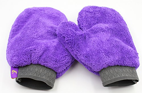 (Hertzko 2 Pack Pet Towel Glove - Ultra Absorbent Microfiber Material - Great for Drying Dog or Cat Fur After Bath)