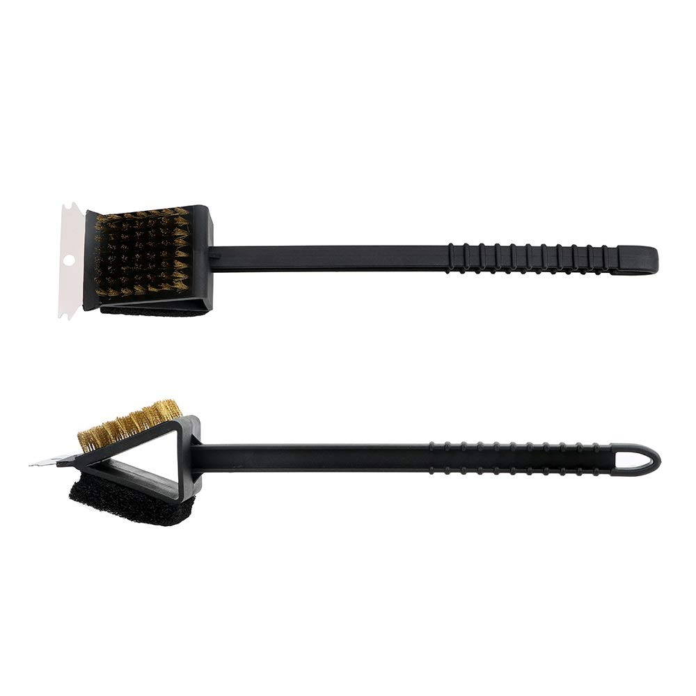3 in 1 Corner Copper Wire Brush Barbecue Grill Oven Cleaning BBQ Cleaning Brush Copper Wire Sponge Shovel Long Handle by LNYJ