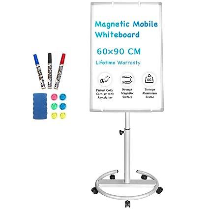 Pizarra blanca portátil magnética de 90 x 60 cm con soporte ...