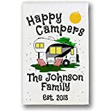Happy Campers Personalized 5th Wheel Campsite Sign, Garden Flag, Customize Your Way, Flag Only (Black/Gray 5th Wheel)