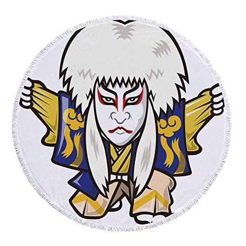 - VAMIX Thick Round Beach Towel Blanket,Kabuki Mask Decoration,Character with Kimono Orient Elements Edo Era Arts Theater Play Decorative,Multicolor,Multi-Purpose Beach Throw£¬