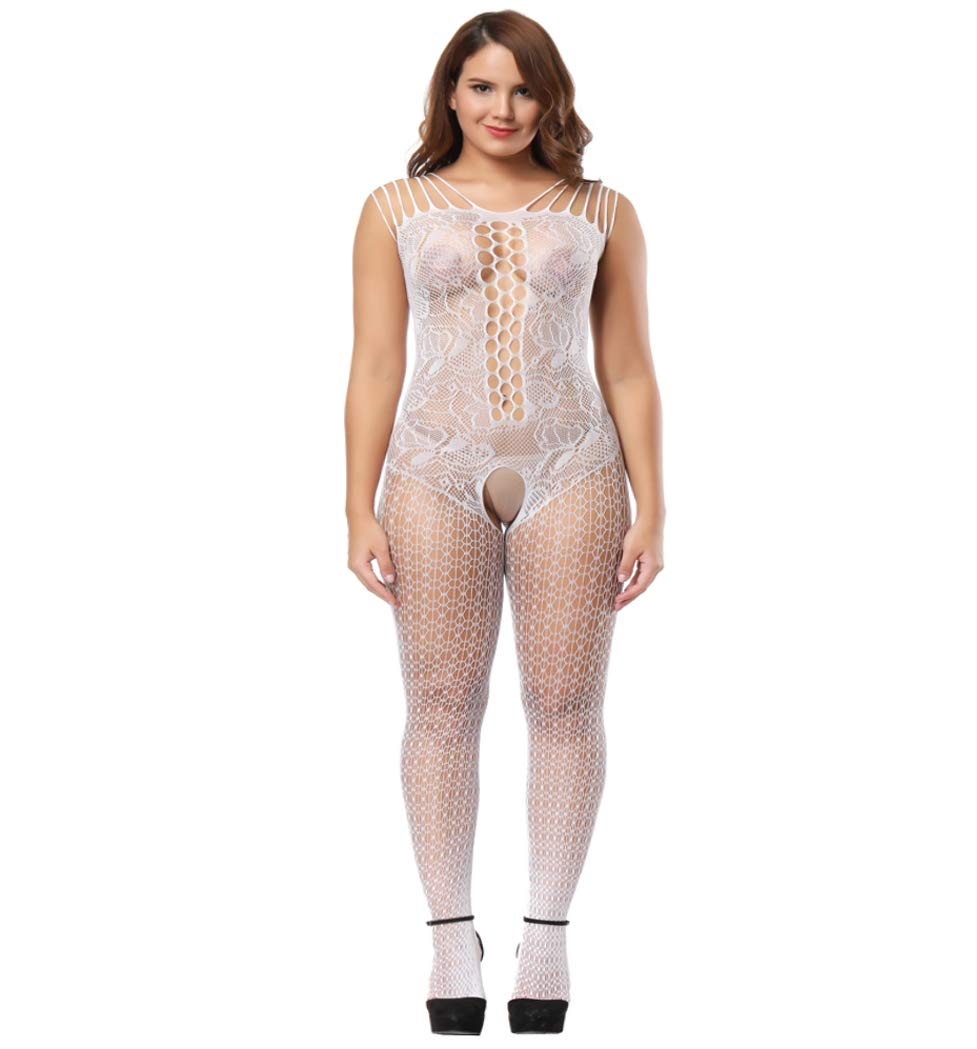 2b374c0b442f9 Galleon - Deksias Fishnet Bodystocking Plus Size Crotchless Bodysuit  Lingerie For Women (one Size