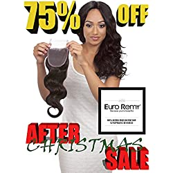 EURO REMY Brazilian Virgin 100% Unprocessed Human Hair Extensions - 4x4 Lace Frontal Closure Free Part - Bodywave - 14 inches Natural