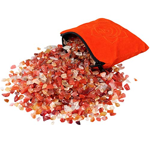 SUNYIK Natural Carnelian Tumbled Chip Stone, Sacral Chakra Crystal Pillow for Healing Reiki, Sphere Sculpture Figurine Point Display Stand (Best Stones For Sacral Chakra)