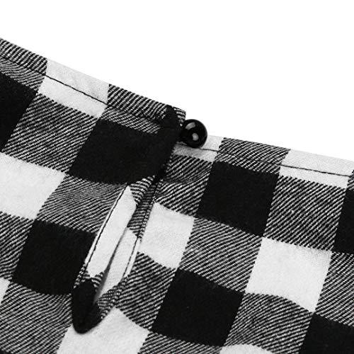 Maniche O Plaid Lunghe Casual Pullover Autunno T Tops Donna Camicie Shirt Camicette Collo ABCone Elegante Felpa Nero nX4xB8tzwq