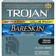 Trojan Sensitivity Bareskin Lubricated, Latex Condoms, 24 Count