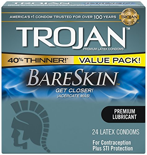 Thin Lubricated Latex Condoms (Trojan Sensitivity Bareskin Lubricated, Latex Condoms, 24 Count)