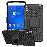 Z4 Case, Double-Deck Hybrid Armored Shield Cover [Good Grip] [Kickstand Feature] Protective Shell High Impact Resistant Skin for Sony Xperia Z4 with 1x Stylus and 1x Screen Protector -Black