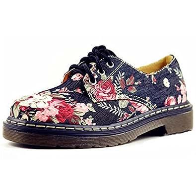 Oasap Women Footwear Avenue Floral Print Lace Up Flat Fashion Sneaker