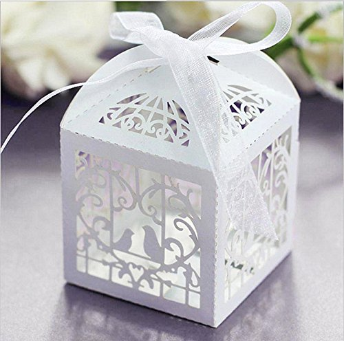 Muhan 50 Pcs Hollow Love Birds Romantic Wedding Invitation Candy Boxes Elegant Party Decorations Bride Favors (Love Birds Wedding Invitation)