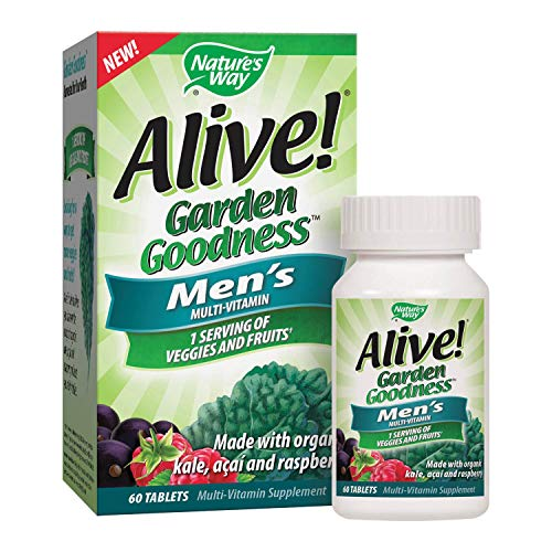 Natures Way Alive! Garden Goodness Mens  Multivitamin, Veggie & Fruit Blend (1400mg per serving), Made with Organic Kale, 60 Tablets