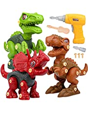 Neem Apart Dinosaurusspeelgoed met Elektrische Boor, Doe-het-zelfbouwset Inclusief Tyrannosaurus Rex, Velociraptor en Triceratops STEM-Cadeau voor 3 Jaar Oud