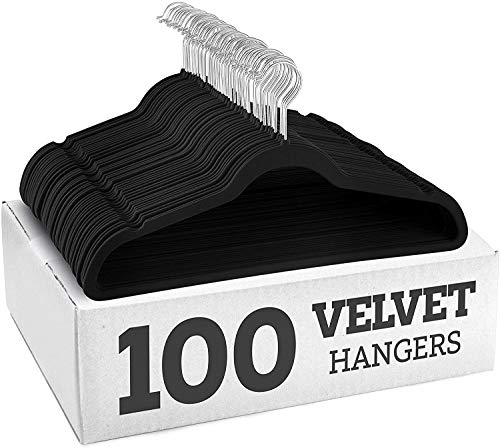 YANEK Non-Slip Velvet Suit Hangers 100 Pack - Ultra Thin Space Saving 360 Degree Swivel Hook Strong and Durable Clothes Hangers Hold Up-to 10 Lbs, for Coats, Jackets, Pants, Dress Clothes