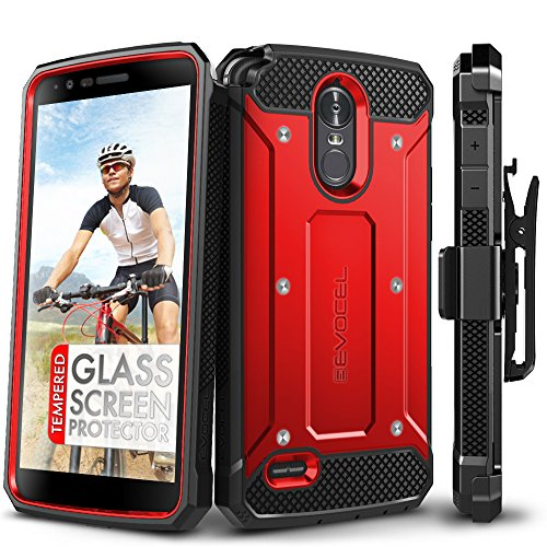 LG Stylo 3 Case, Evocel [Explorer Series] with Free [LG Stylo 3 Glass Screen Protector][Full Screen Coverage] Premium Full Body Case [Slim Profile][Belt Clip] for LG G Stylo 3 (2017 Release), Red (Best Cell Phone Coverage In Usa 2017)