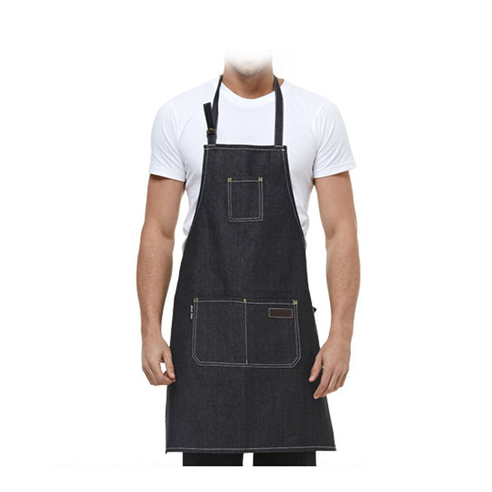 Denim Apron, ANGTUO Thick Sleeveless Personality Aprons Fashion Uniforms Coffee Service Chef Cooking Gardener, Black Others