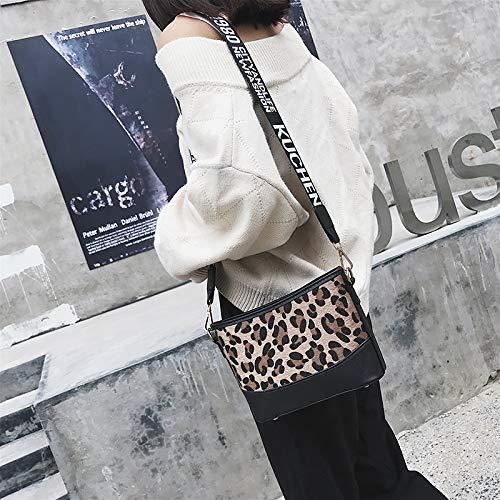 Coreana Amarillo Femenina Bag Del Messenger Saoga De Leopardo Bolso Salvaje Rojo Ancho Versión Errante Retro Moda Bandolera gxFFw1qIf