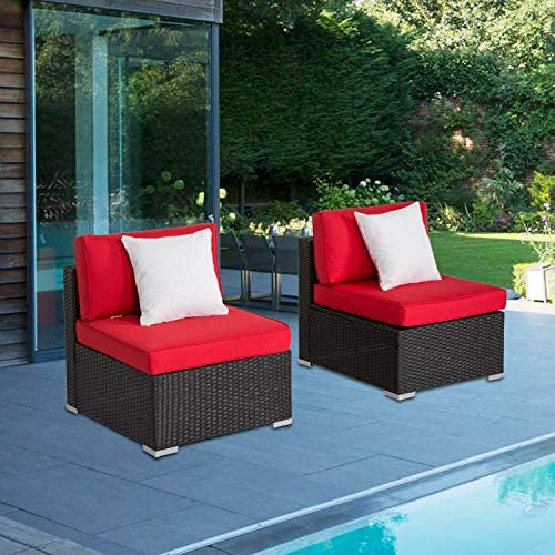 Wicker Patio Loveseat Outdoor Garden Sectional Conversation Sofa Set