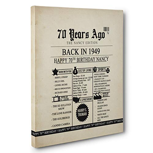 (70th Birthday Newspaper Born in 1949 Stats CANVAS Wall Art)
