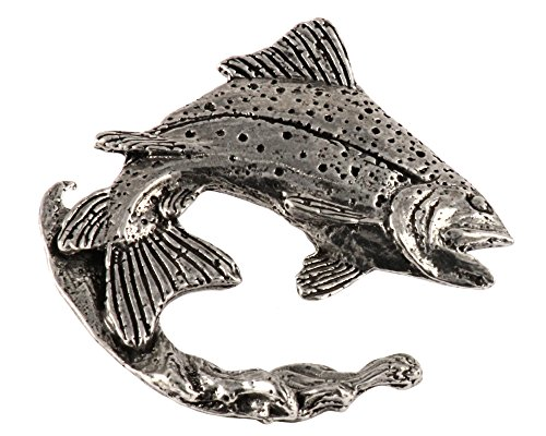 Creative Pewter Designs, Pewter Rainbow Trout Leaping Right In Water, Handcrafted Freshwater Fish Lapel Pin Brooch, Antique Finish, F004PRW