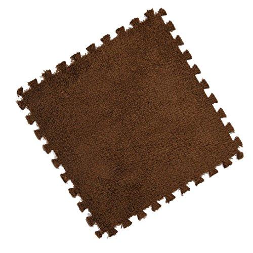 Clearance! SINMA Kids Puzzle Area Rug EVA Shaggy Velvet Fluffy Square Carpet Tiles Anti-slip & Durable Rug Foam Eco Floor Mat for Nursery Décor, Baby Room, Playroom and Kids Room (2525cm, Coffe)