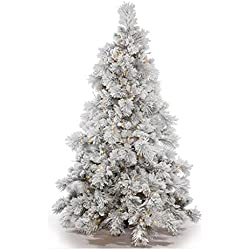 "Vickerman 383674 - 9' x 73"" Flocked Alberta 950 Warm White Italian LED Lights with Pine Cones Christmas Tree (A155281LED)"