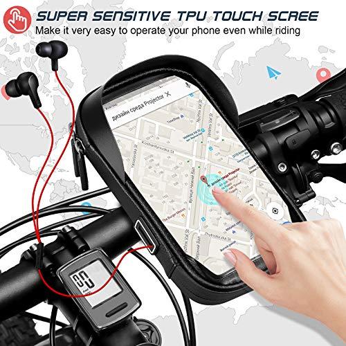 Porte téléphone vélo etanche, Support telephone scooter Sacoche guidon de cadre selle VTT Moto avec étui tactile transparent en TPU, Rotatif à 360 °, Trou d\'écouteur pour smartphone de 5,5 à 7,0 pouce
