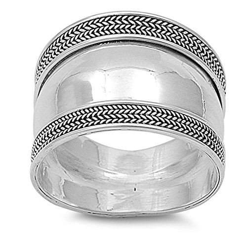 Polished Bali Rope Wide Thumb Ring New .925 Sterling Silver Band Size (Rope Thumb Ring)