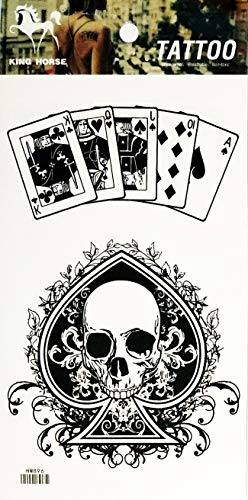 NipitShop 1 Sheet Skull Poker Blackjack Ace Jack Gambling Playing Card Casino Temporary Tattoos Arm Sticker Art Arm Sticker Body Waterproof Tattoo for Women&Girls&Men]()
