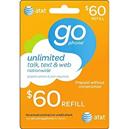 At&t $60 ATT Refill Card TOP up Prepaid Refill Card Wireless Montly (Mail delivery)