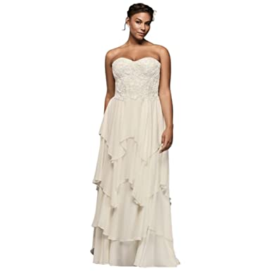 Tiered Chiffon Plus Size A Line Wedding Dress Style 8ms251178 At