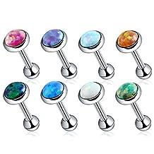 Swanjo 4mm Fire Opal Earrings Stud Piercings Ear Helix Cartilage Rings
