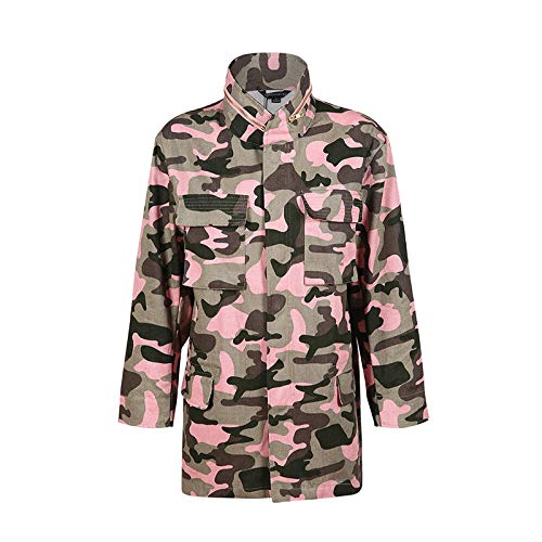 Xcxka Collare Outwear Cerniera Tasca Camouflage Sciolto Donna Giacca Lunga Manica Streetwear Stand Rosa Moda HwCqgHpxr