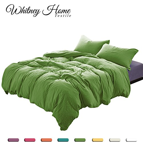 (Egyptian Quality Super Soft Stone Washed Microfiber Duvet Cover Queen Green 3 Pieces Set with Zipper Closure Corner Ties - Fade Stain Resistant Quilt Case Comforter Cover - St Patricks Day Bedding)