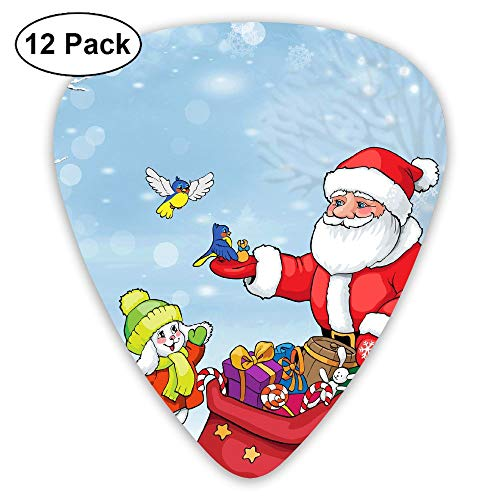 Santa Claus Bunny Birds Bag Gifts Trees Snow Winter Ultra Light 0.46 Medium 0.71 Heavy 0.96mm Printed Round Flat Celluloid Jazz Electric Acoustic Bass Guitar Pick Ccessories Variety Pack Pocket