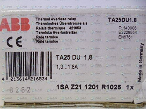 ABB, TA25DU1.8, Overload Relays-Thermal Magnetic, 1.3-1.8 Amp Range, for use with (A/AE/AL9-A/AE/AL40) Contactors ()