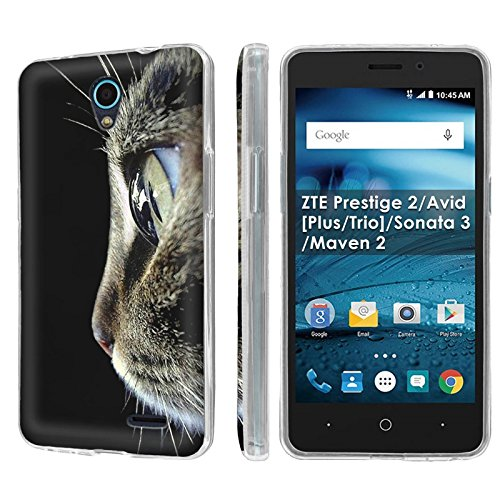 ZTE Prestige 2/Avid [Plus/Trio]/Sonata 3/Maven 2 [NakedShield] [Clear] Ultra Slim Cover Case - [Cat Portrait] for ZTE Prestige 2/Avid [Plus/Trio]/Sonata 3/Maven 2