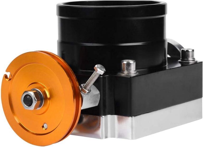 Aramox Throttle Valve Body 80mm CNC Aluminum High Flow Intake Manifold Throttle Body for General Mechanical Throttle Black