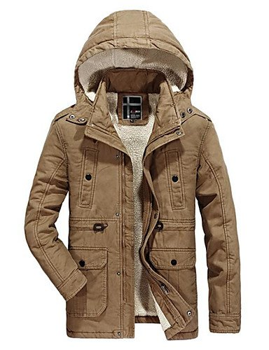 Cotton Color Size Daily Regular Plus green Casual Sleeves Men's Rayon Block Simple Coat Parka army Long Wool SADFSD 7Azpqx