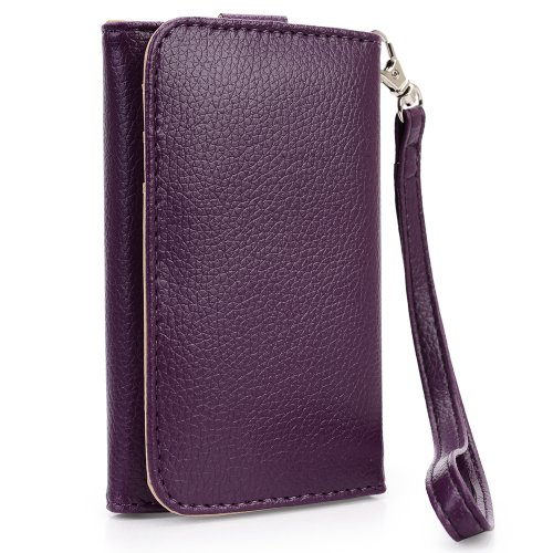 Purple EPI Leather Bifold Wristlet fits Samsung Galaxy S Duos S7582 & NextDIA Cable Tie