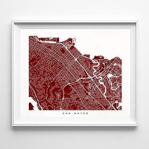 San Mateo California Street Road Map Poster Home Decor Print Modern City Urban Wall Art - 70 Color Options - Unique Decoration Minimalist Office Interior Gift Bedroom Living Room Artwork - Unframed ()