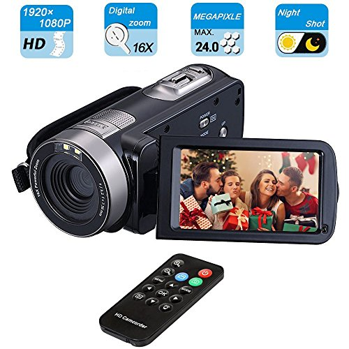 Digital Camcorder, Mengyasi Portable Video Camcorder with IR Night Vision HD 1080P 24MP 16X Digital Zoom Remote Control Handheld Camcorder with 3'' LCD Screen (2 Batteries Included) by mengyasi