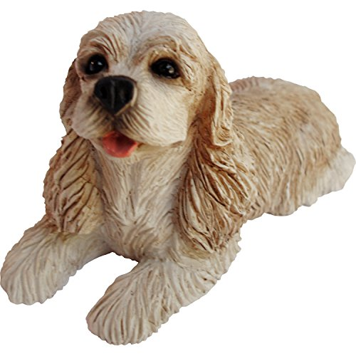 Sandicast Small Size Buff Cocker Spaniel Sculpture, Lying