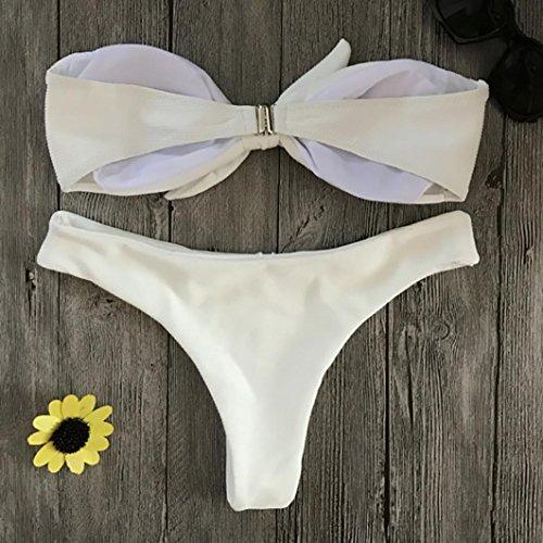 up Reggiseno mare Bikini arricciato fascia Costume Donna Bikini donna Bikini ragazza bagno Costumi con da bagno da push Sysnant Beachwear a Bianco slip Imbottito qOpAna6w