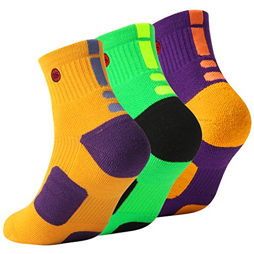 High Top Bike Sock - 3street Short Sport Socks, Unisex Sport Athletic Wicking Moisture Quarter Basketball Socks Comfort Running Cycling Tennis Golf Ankle Socks Yellow Green Purple XL 3 Pairs