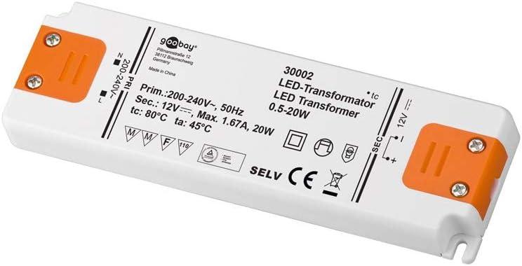 Goobay LED Transformador 230V (AC) a 12 voltios (DC) de 0,5 hasta 20 vatios para lámparas LED