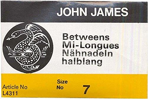 Colonial Needle 25 Count John James Between Quilting Uncarded Needles, Size 7 Colonial Needle Co L4311-07