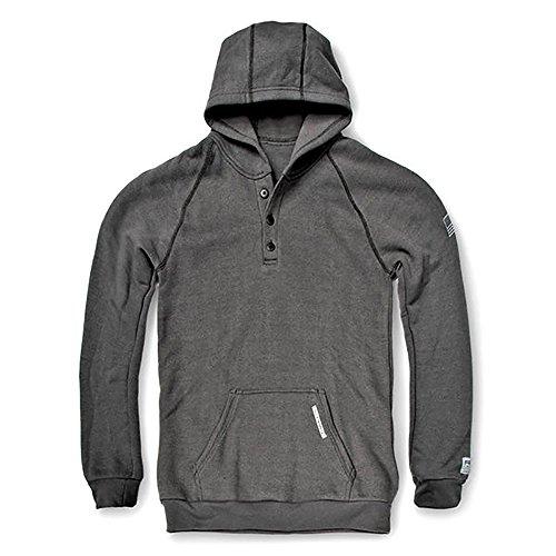 Tencel Jumper - Tyndale Versa Three Button FR Sweatshirt with Hood 2XLARGE Charcoal